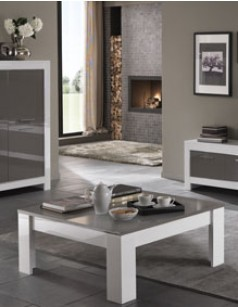 Table basse design blanc et gris laquée TRAVIATA