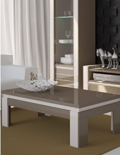 Table basse rectangulaire laquée cappuccino et blanc design INDRO II