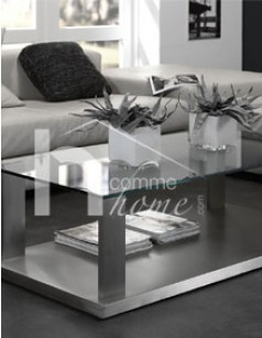 Table basse design en verre et inox brossé GLORY