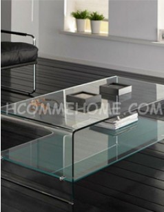 Table basse rectangulaire en verre LENY
