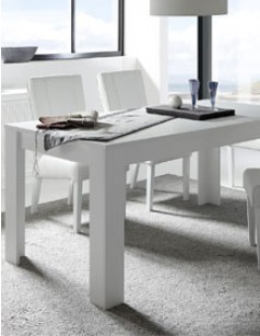 Table avec rallonge blanc laqu mat design aurora - Table carree blanc laque avec rallonge ...