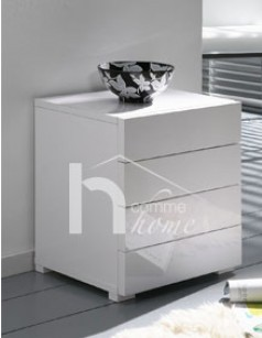 Table de chevet design blanc laqué brillant GLOMI 2