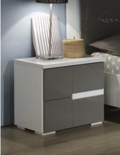 Table de chevet gris et blanc design OMBRINE
