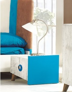Table de chevet blanc, bleu et gris moderne ROMAIN