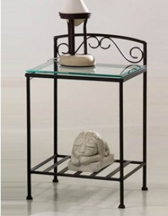 Chevet en fer forg romeo - Table de chevet fer forge noir ...