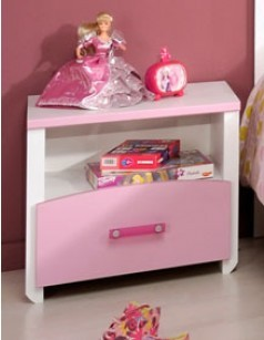 Table de chevet enfant rose et blanc AURORE