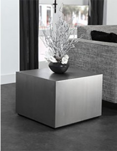 Table d'appoint carrée inox brossé design INOXA