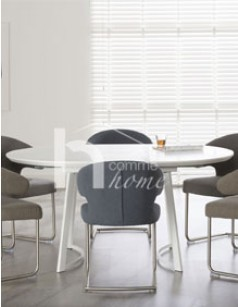 Table ronde extensible design blanc mat SELINA