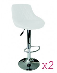 Lot de 2 Tabourets de bar design ACHILLE II, coloris blanc