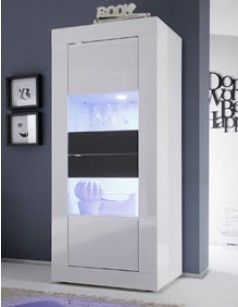 Vitrine laque blanc et anthracite design FOCUS 3 (avec LED en option)