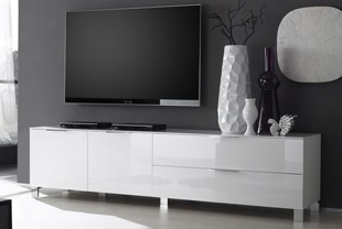 Banc TV design CASABLANCA, Coloris Blanc laqué, disponible en 2 dimensions