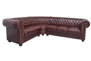 Canapé d'angle chesterfield rouge vintage de salon CITIZEN 3