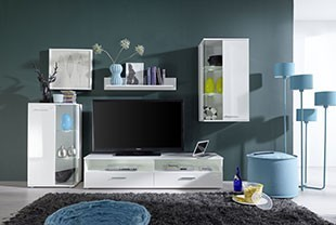 Ensemble meuble TV moderne blanc TROOPER