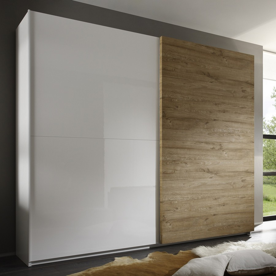 Armoire adulte contemporaine 2 portes coulissantes BROCELIA, coloris blanc + wengé, miel ou gris