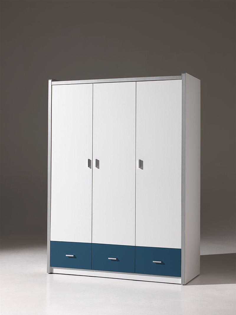 Armoire enfant contemporaine 3 portes MENDY, 7 coloris