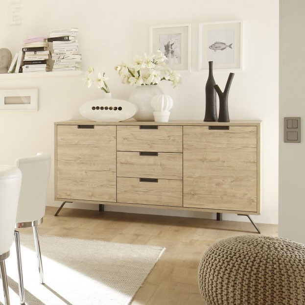 meuble buffet bahut moderne bois et m tal. Black Bedroom Furniture Sets. Home Design Ideas