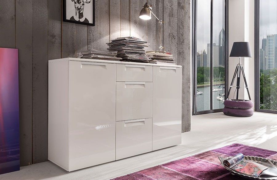 Buffet bahut blanc brillant design COMET