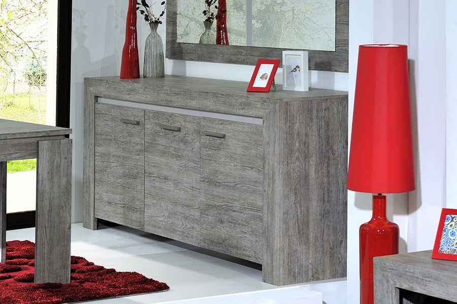 Buffet-bahut contemporain ESCALE, coloris chêne gris, 3 portes