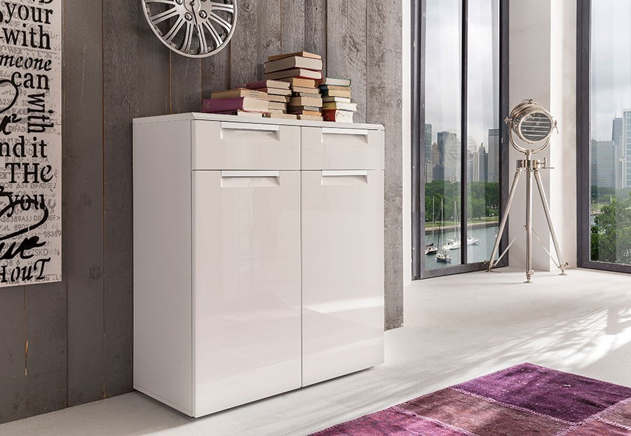 Commode de rangement blanc brillant design COMET