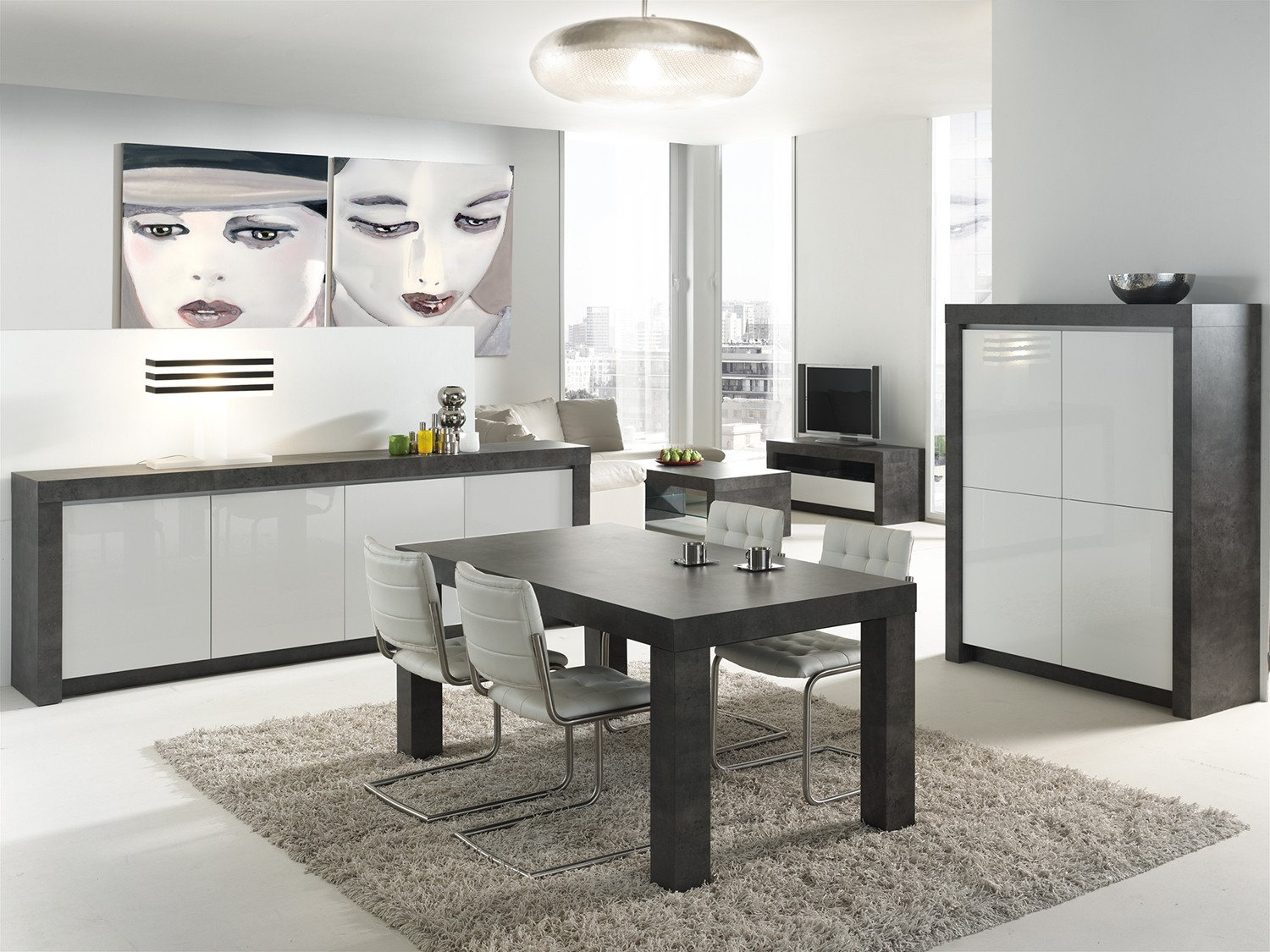 salle a manger gris laque. Black Bedroom Furniture Sets. Home Design Ideas