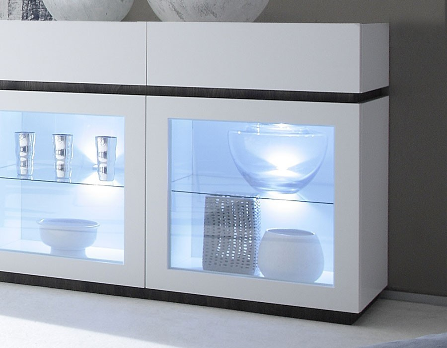Buffet moderne laqu mat avec pietement en option - Buffet vitrine blanc ...