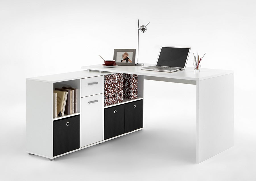bureau avec biblioth que de rangement blanc. Black Bedroom Furniture Sets. Home Design Ideas