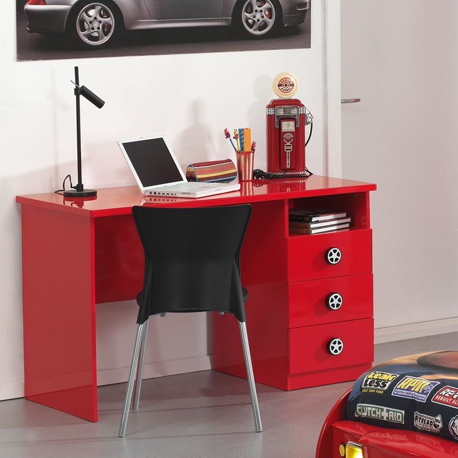 Bureau enfant rouge 3 tiroirs TURBOPOWER
