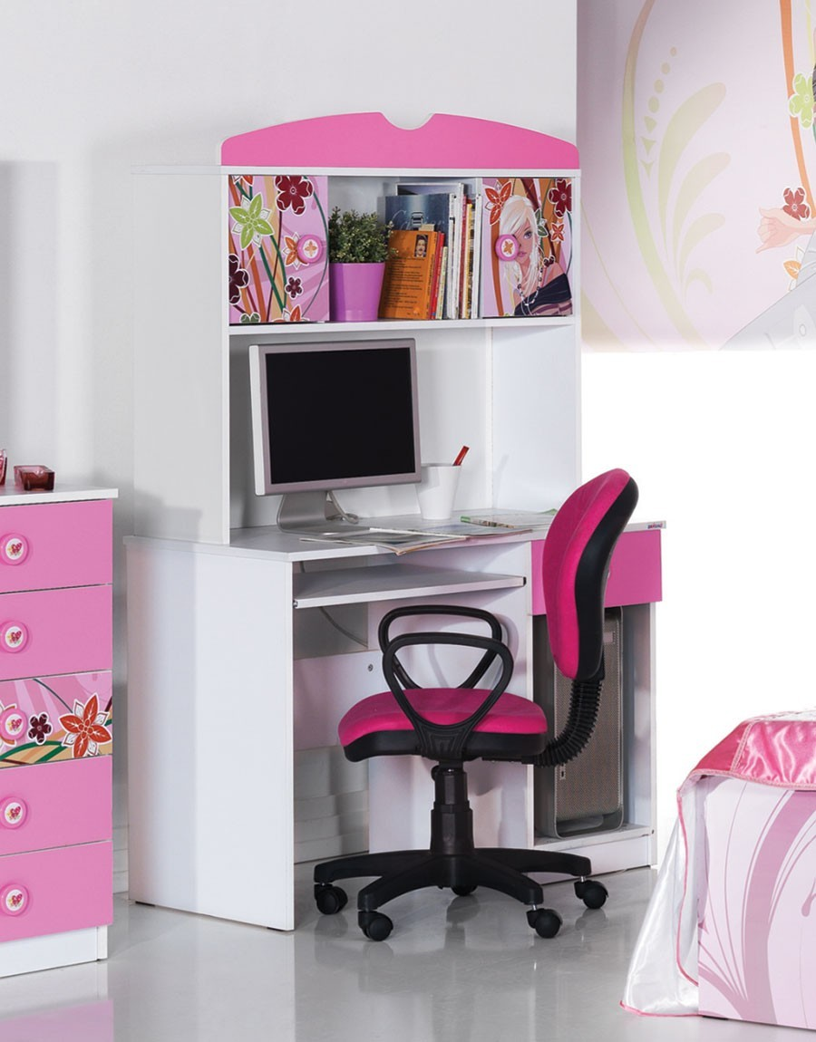 Bureau multimédia fille blanc et rose design CINDY