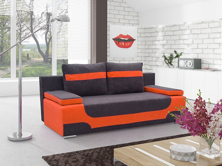 canap convertible orange et noir. Black Bedroom Furniture Sets. Home Design Ideas