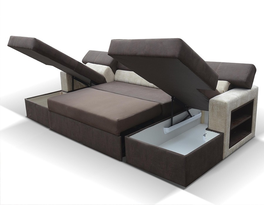 canape convertible avec 2 coffres de rangement. Black Bedroom Furniture Sets. Home Design Ideas