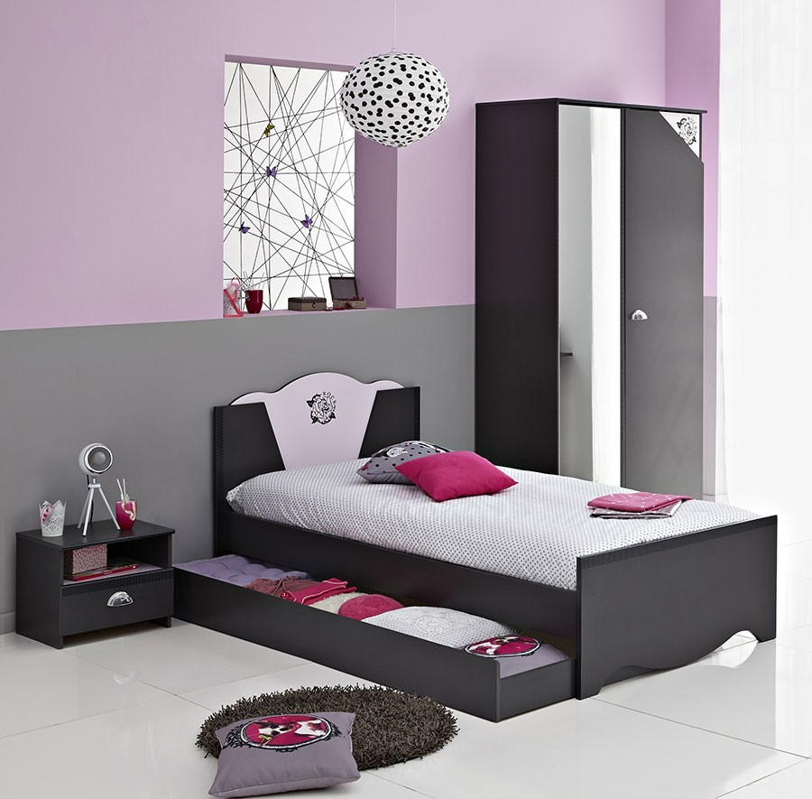 chambre gris et rose. Black Bedroom Furniture Sets. Home Design Ideas