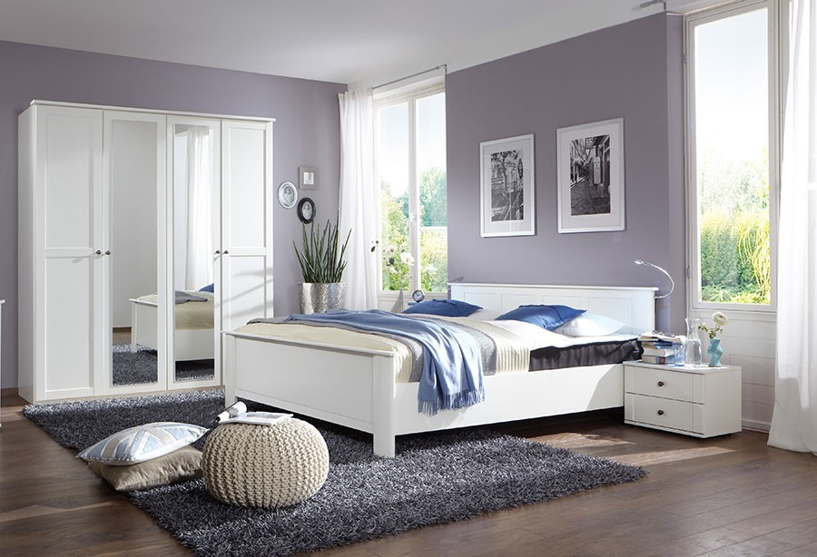 Chambre blanc et bois for Chambre complete adulte blanche