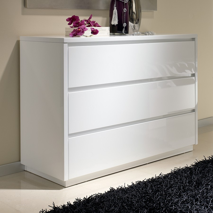 Commode adulte design laquée blanche TOBIA, 3 tiroirs
