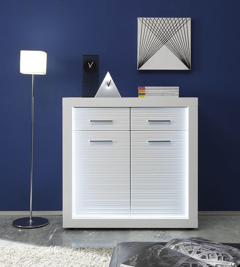 Commode lumineuse 2 portes 2 tiroirs blanc brillant design QUANTUM