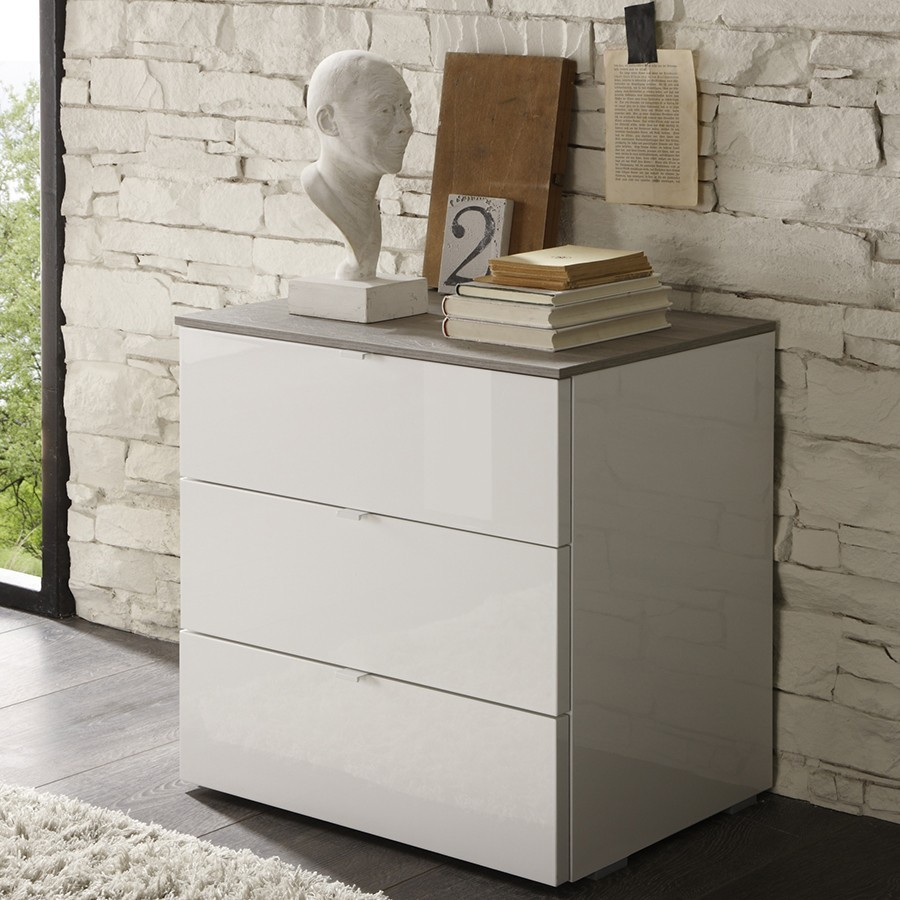 Commode adulte contemporaine BROCELIA, coloris blanc + wengé, miel ou gris
