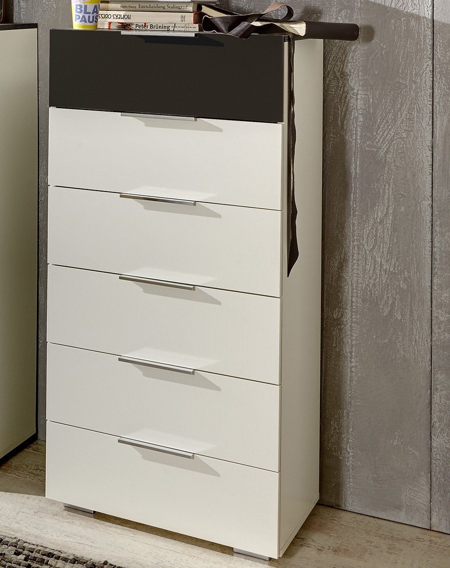 Commode adulte contemporaine LUDVIKA, coloris blanc et noir volcan