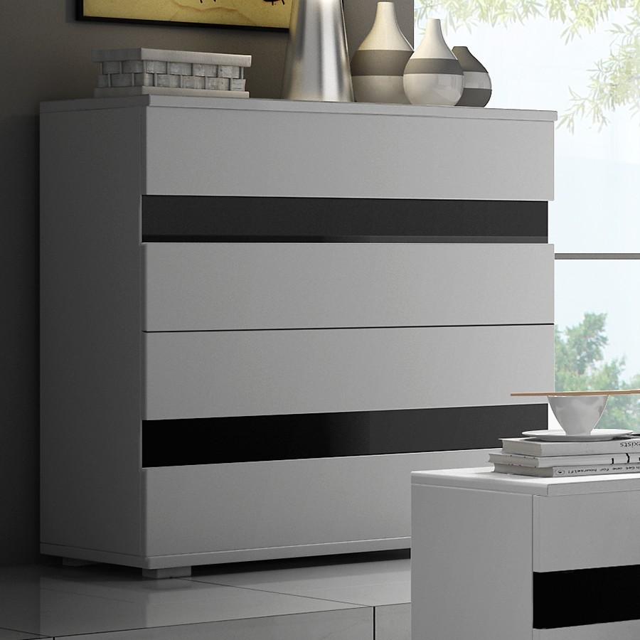 Commode adulte design noir et blanc finition brillant MILAN