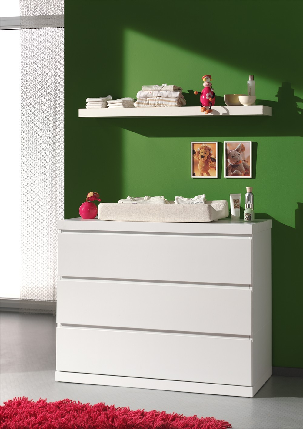 Commode design 3 tiroirs blanche LORENE