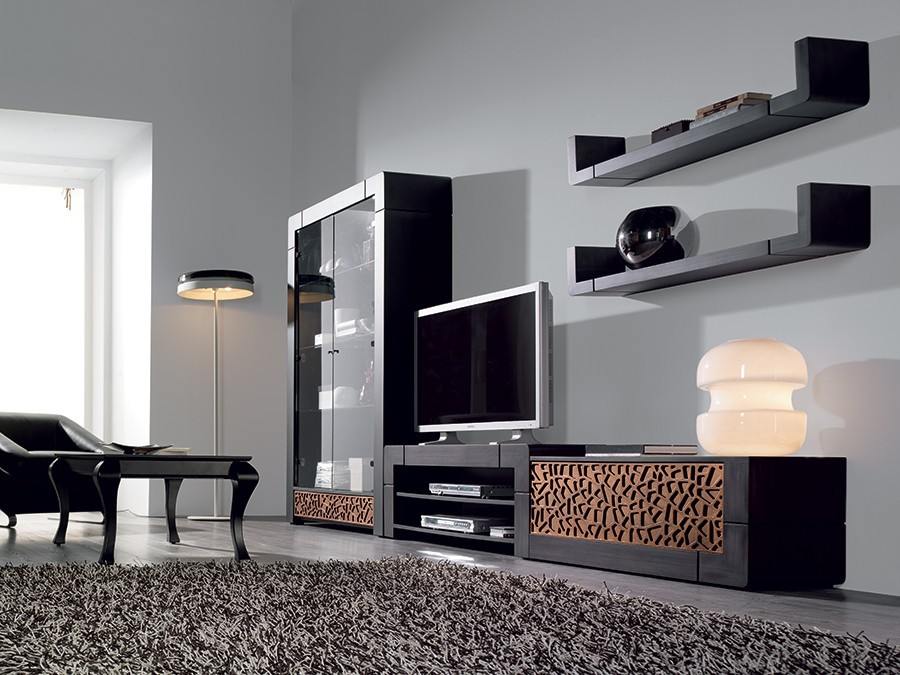 lovely etagere murale pour salon 9 etag re murale en u contemporaine cameron coloris patin. Black Bedroom Furniture Sets. Home Design Ideas