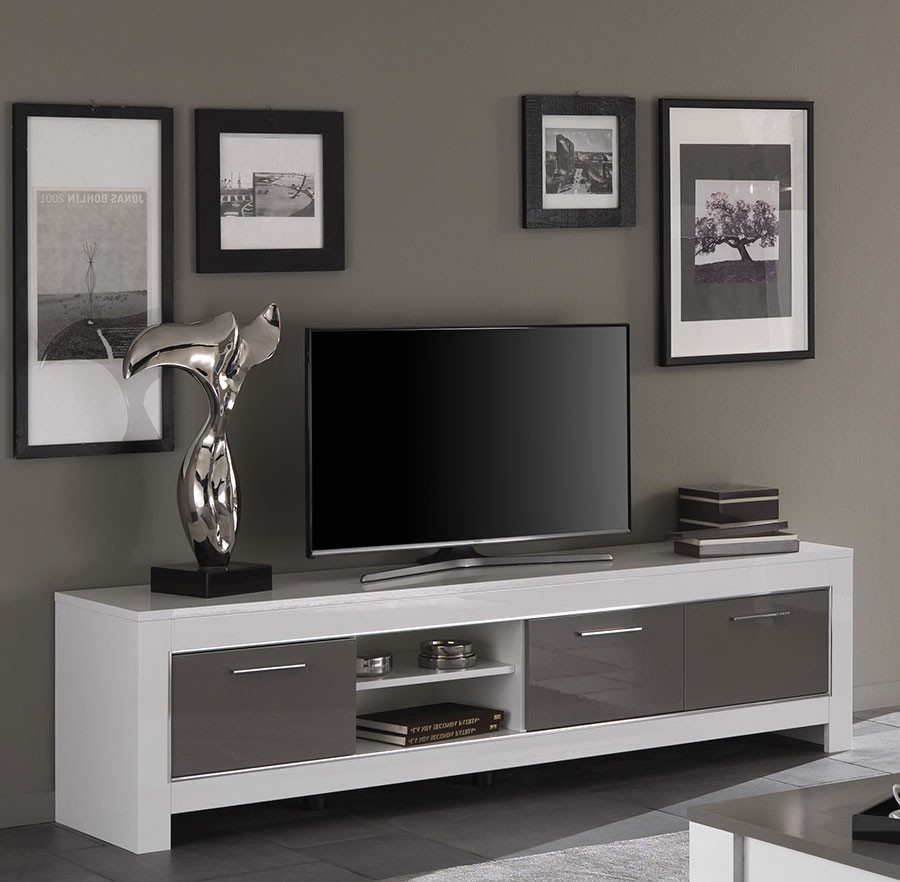 Grand meuble tv blanc sammlung von design for Grand meuble tv blanc laque