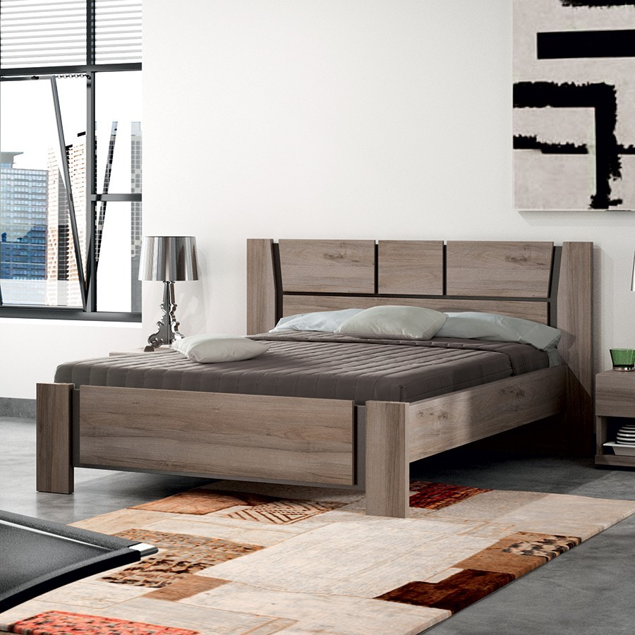 Lit adulte contemporain IRATY 2, coloris chêne, disponible en 2 dimensions