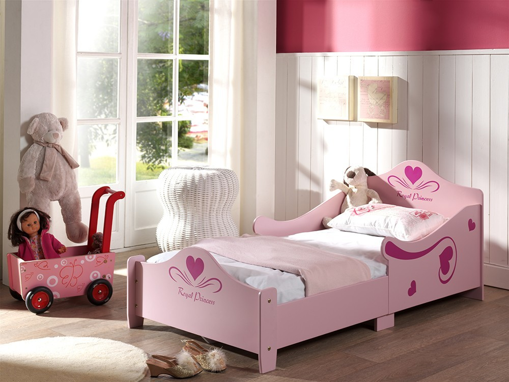 Lit fille rose avec sommier inclus ROYALPRINCESSE