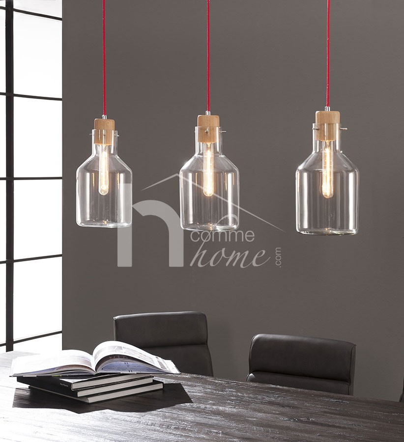 Suspension design en verre et bois SEALY