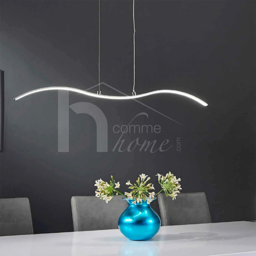 Luminaire suspension design FRIDAY, en acier chromé, éclairage LED