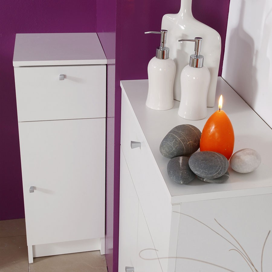 Commode basse simple de salle de bain blanc BARRY