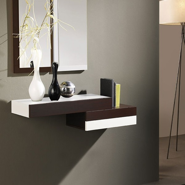 Meuble entree suspendu table de lit - Miroir suspendu porte ...