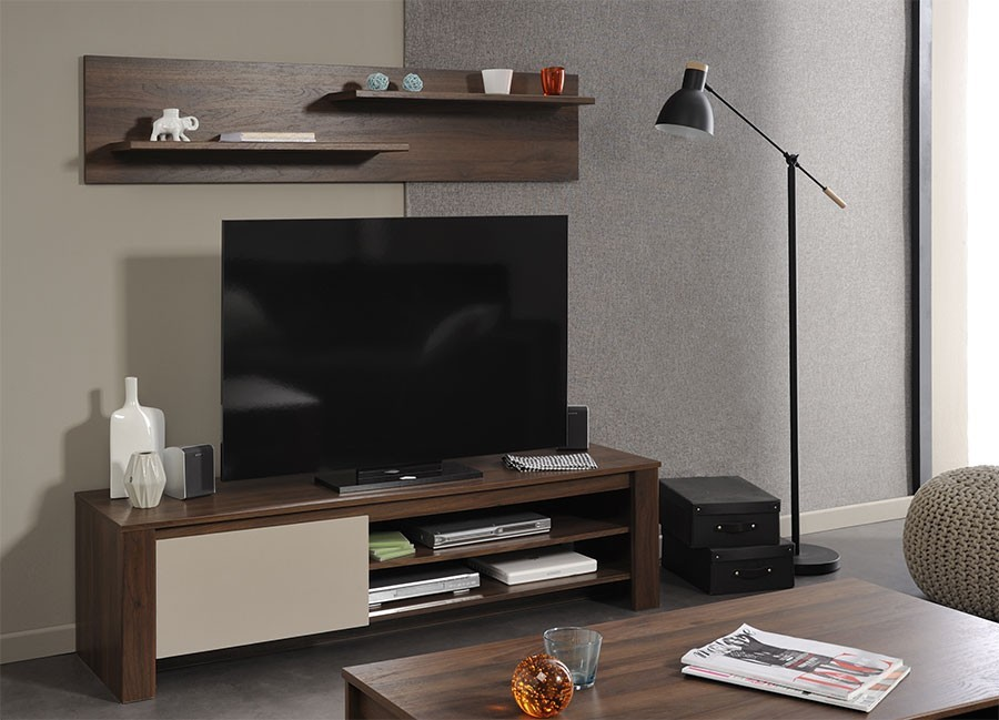 impressionnant meuble tele pas chere 3 meuble tv contemporain noyer beige brice ukbix. Black Bedroom Furniture Sets. Home Design Ideas