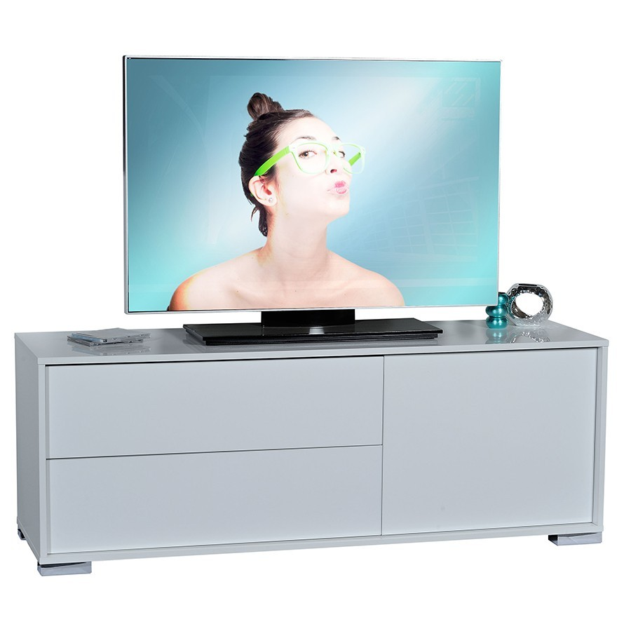 Meuble TV 1 porte - 2 tiroirs design TRENDY BLANC