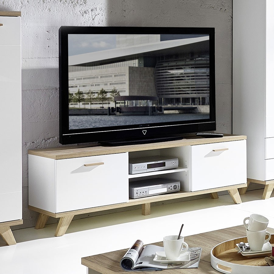 Meuble tv chene massif contemporain for Meuble tele blanc et chene
