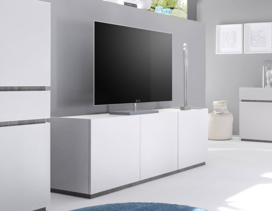 meuble tv moderne blanc laqu mat. Black Bedroom Furniture Sets. Home Design Ideas